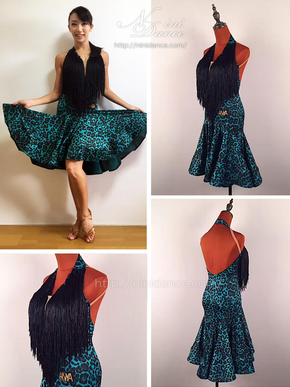 bf85d812f9051 LP050限定版柄生地のフレア裾とフリンジのラテンドレス