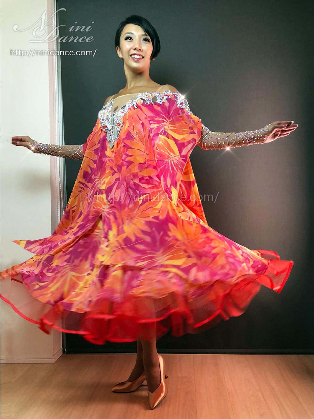d54d12b465f5f 社交ダンスウェアNiniDance D765紅葉色彩のオーラで魅せる秋風情のモダン ...
