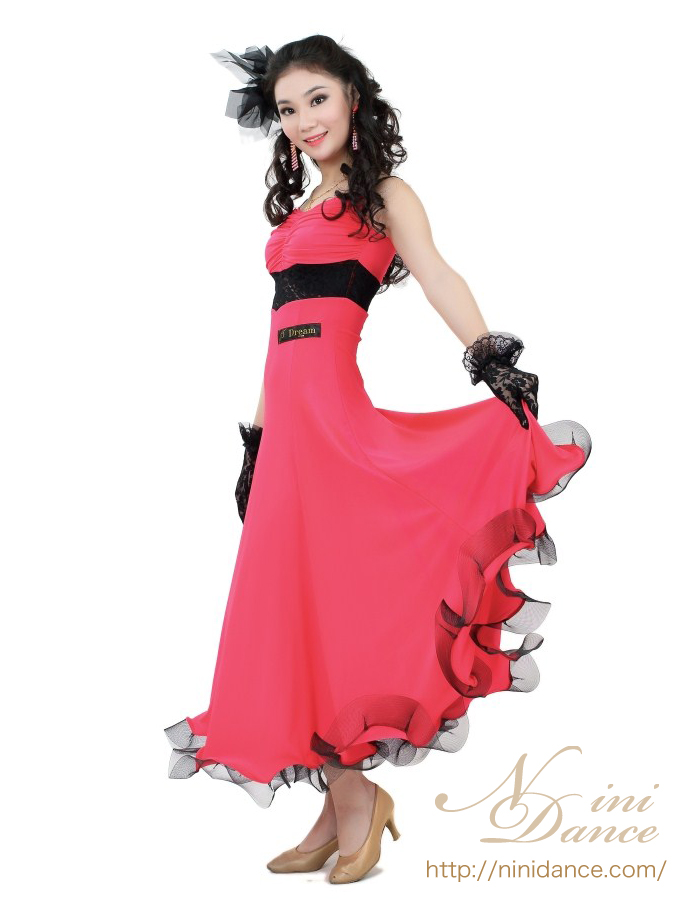 b40f33814e8c6 SP001赤に黒レースの切替が大人可愛いパーティドレス