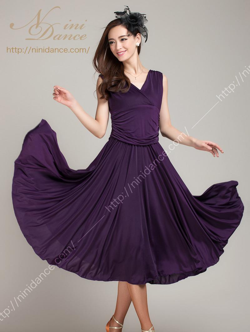 1fb00e901a212 社交ダンスウェアNiniDance SP016深いVネックのパーティードレス(紫)