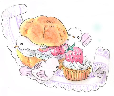 シュークリームとピンクの鳥