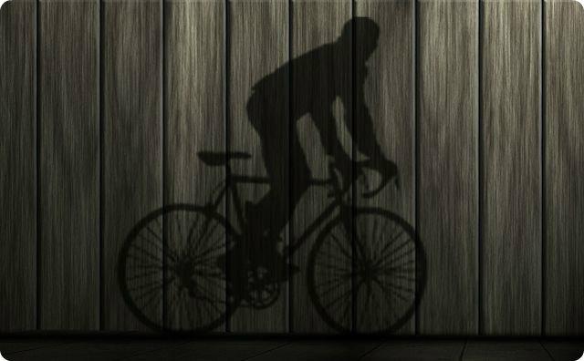 自転車、影