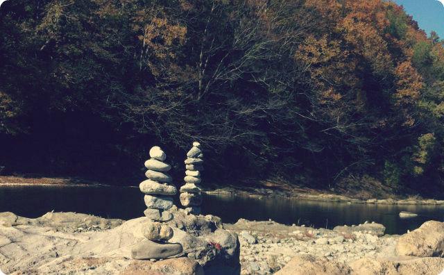 秩父、川、石