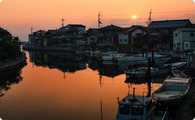 漁師町、港、海、夕日