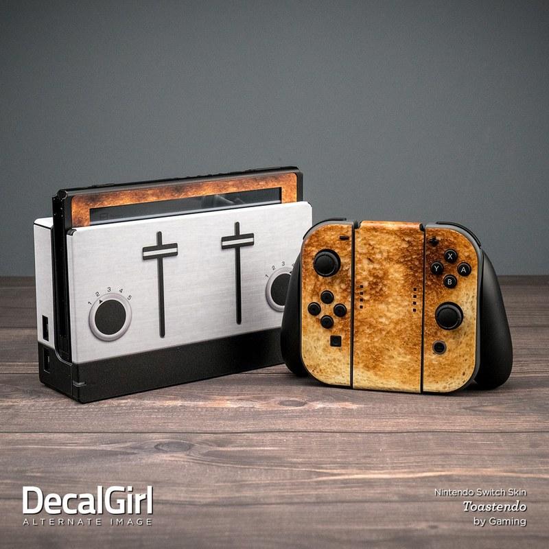 【珍商品】スイッチドックをトースターに、本体とジョイコンをこんがり焼けたパンに変えるステッカー登場wwwwww