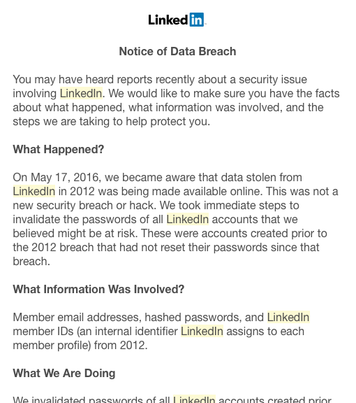 Notice from LinkedIn