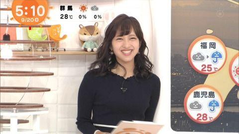 「めざましテレビ」新しいお天気お姉さんのニットおっぱいwwww(画像)