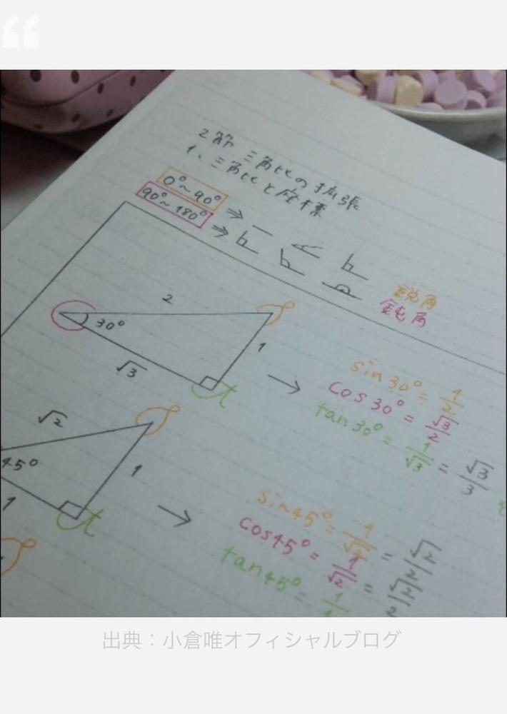 【画像】小倉唯が高校時代使ってた数学のノートが可愛い過ぎてゆいニー必須www