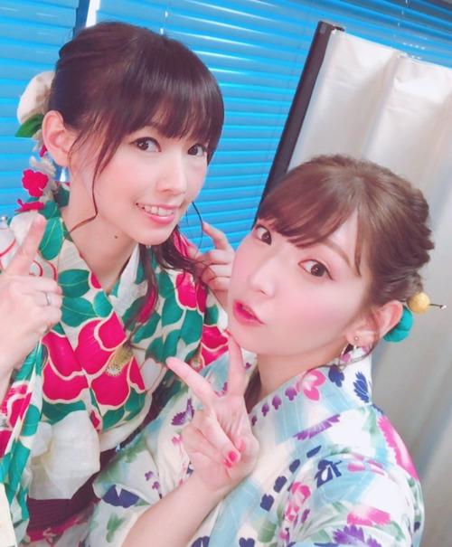 【画像】声優・井上麻里奈さんと下田麻美さんの浴衣姿美しいな