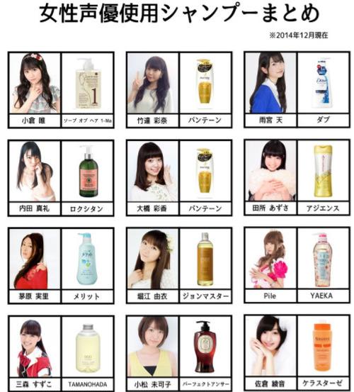 【画像】美人女性声優12人が使用しているシャンプーあるじゃん