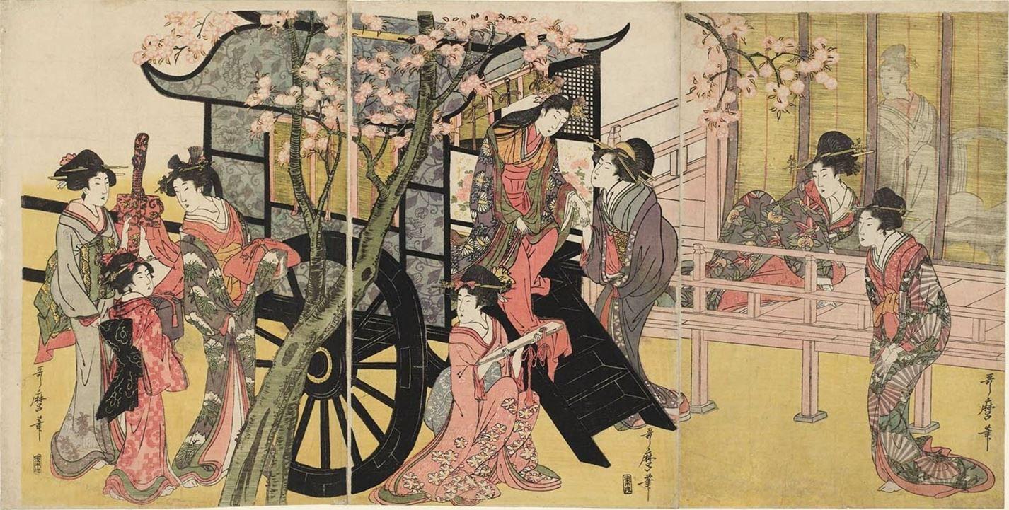 御所車上臈之図 御殿山の花見駕籠 喜多川歌麿 1753年