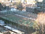 雪をかいたテニスコート