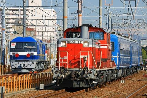 JR西日本 DD51-1193号機牽引 12系客車5両「網干訓練」