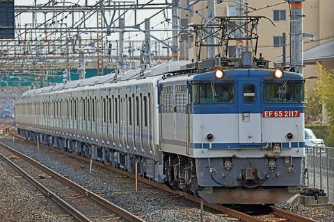 小田急電鉄 新5000形5056F 甲種輸送 JR貨物 EF65-2117号機 二色更新色牽引