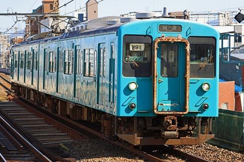 JR西日本 105系SW004編成 地域統一色 「廃車回送」