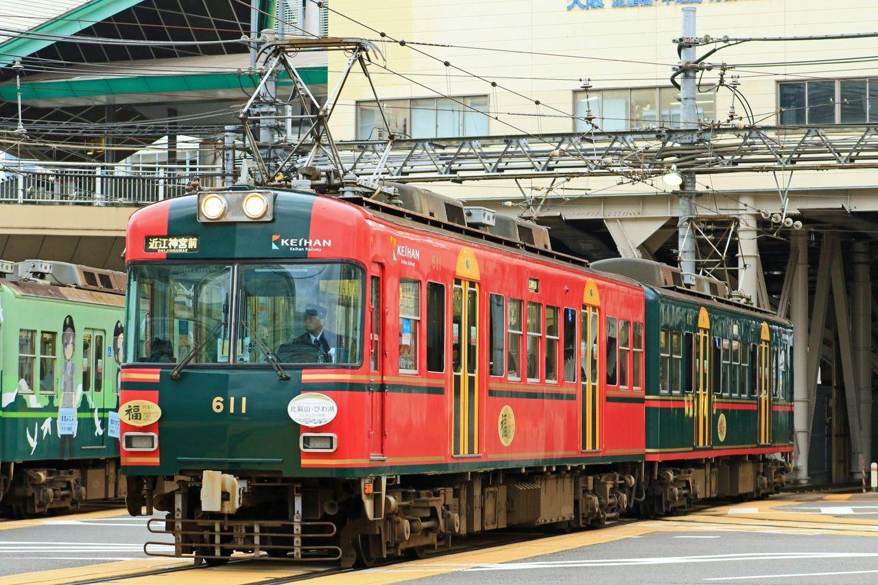 京阪電気鉄道 大津線600形611F「比叡山琵琶湖 水と光の回廊」HM掲出「比叡山・坂本ケーブル」ラッピング編成