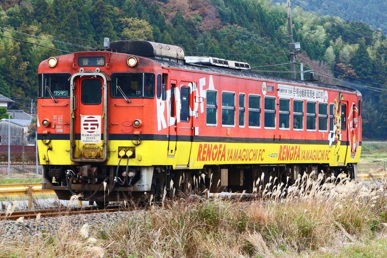 JR西日本 キハ40-2076 レノファ山口FCラッピング車
