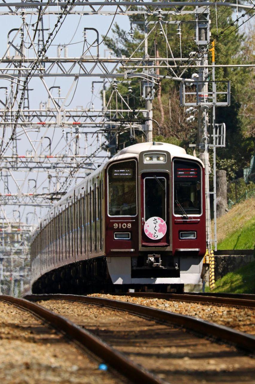 阪急電鉄 9000系9008F 「さくら」2015年版HM掲出編成