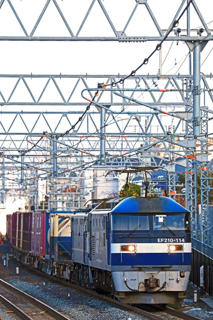 JR貨物 EF210-114号機+EF65-2092号機 国鉄特急色 無動