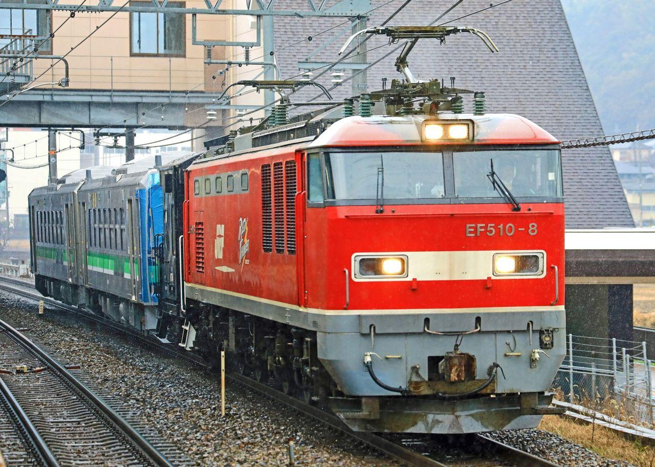 JR北海道 H100形電気式気動車「DECMO」甲種輸送 JR貨物 EF510-8号機牽引