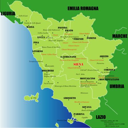 トスカーナマップイタリア語