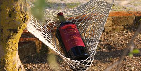 wijn in hangmat liggend