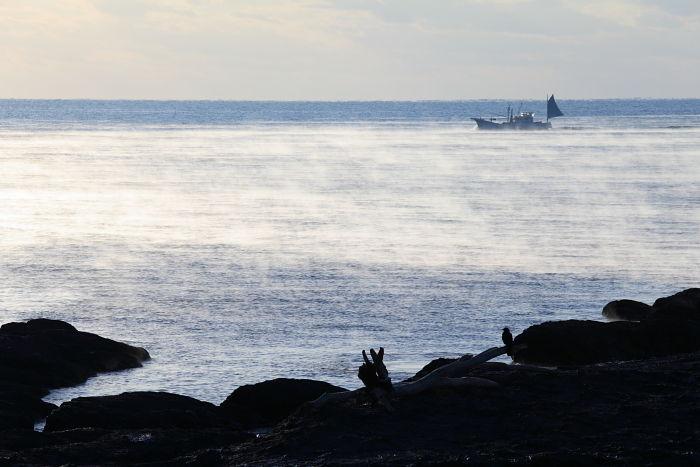 古座海岸の海霧-2