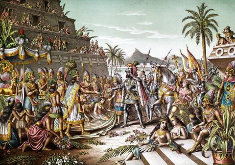 00ネイチャー19世紀に描かれたスペイン人によるアステカ侵略