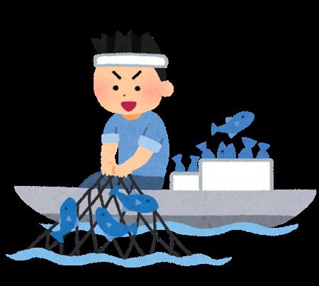 網を引き揚げる漁師