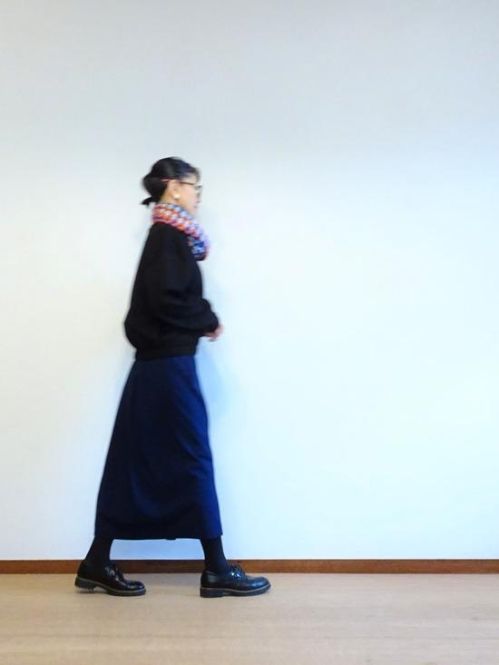 45Rインディゴタックドレス&黒トップス (1)