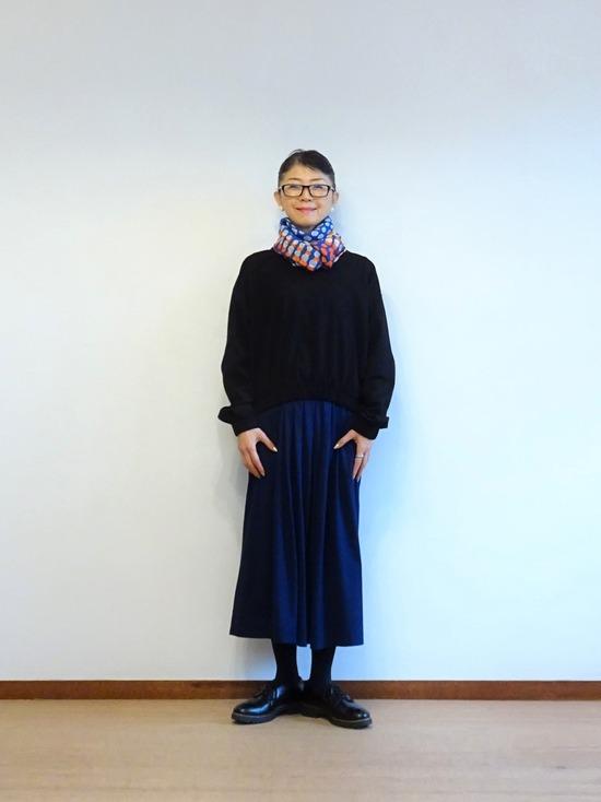 45Rインディゴタックドレス&黒トップス (4)