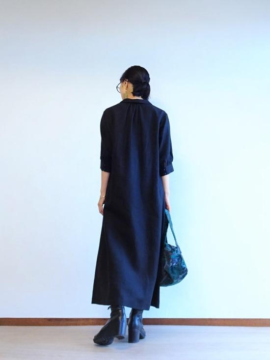 黒リネンワンピース& (5)