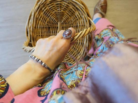 45Rピンクのアフリカンオーバルプリントのワンピース~ (3)