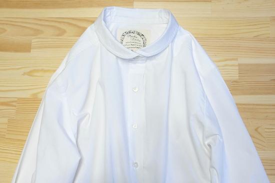 丸襟白シャツ&ツイードイージーパンツ (5)