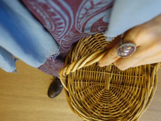 45R 更紗プリントのワンピース&こげ茶ブーツ (3)