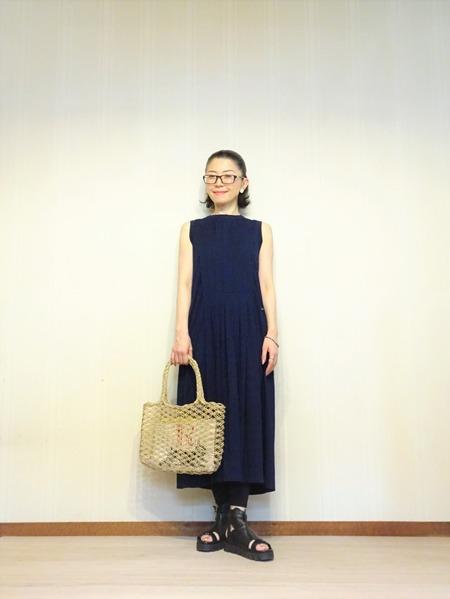 45R藍染タックドレスその弐 (7)