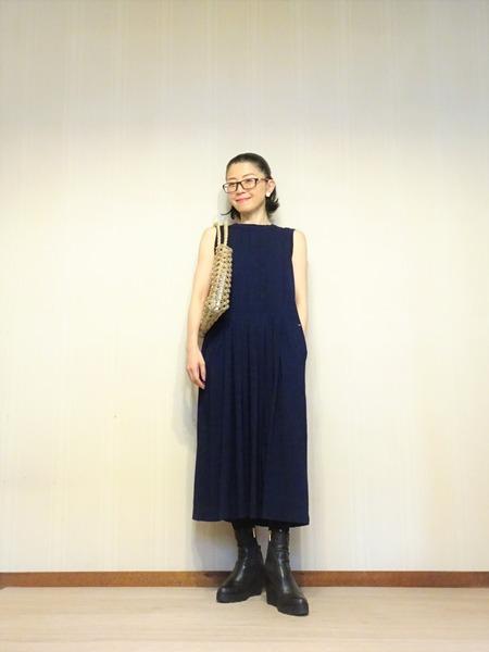 45R藍染タックドレスその弐 (1)