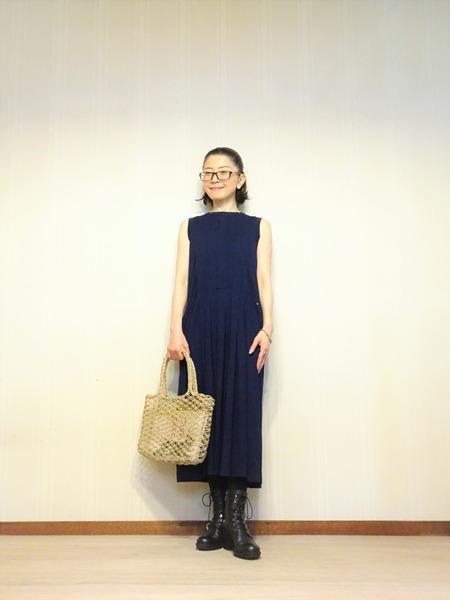45R藍染タックドレスその弐 (2)