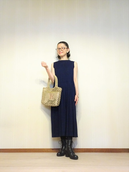45R藍染タックドレスその弐 (3)