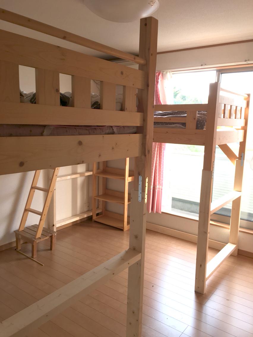 子供部屋を改造中! 二段ベッドを、二段とも二段目ベッドに! : ノー