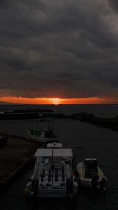 西川名の夕日