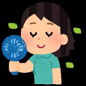 おもちゃのミニ扇風機を顔に当ててる女www