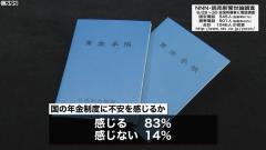 年金制度に「不安感じる」83% 世論調査