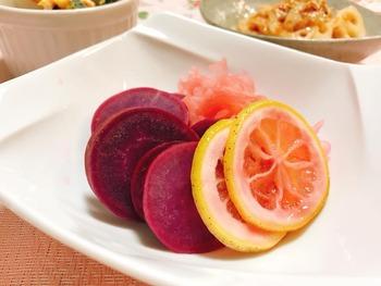 紫芋のはちみつレモン煮