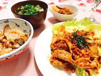豚肉と納豆のキムチ炒め