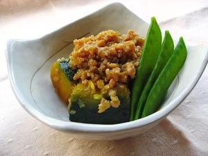生姜鶏そぼろかぼちゃ煮