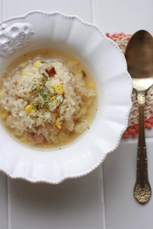 スープ仕立てのとうもろこしご飯