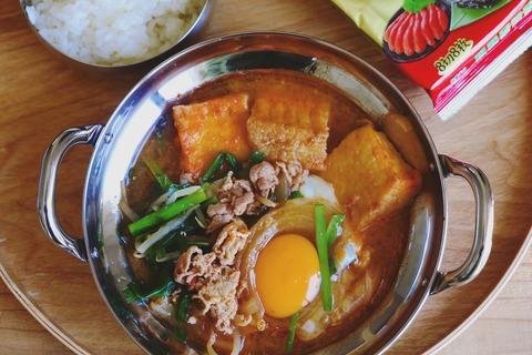厚揚げ豆腐チゲでお昼ご飯
