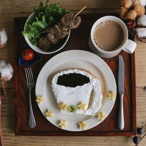 食パンアートと朝ごはん