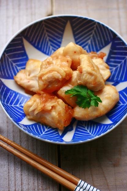 湯煎調理で鶏肉のやわらかピリ辛煮